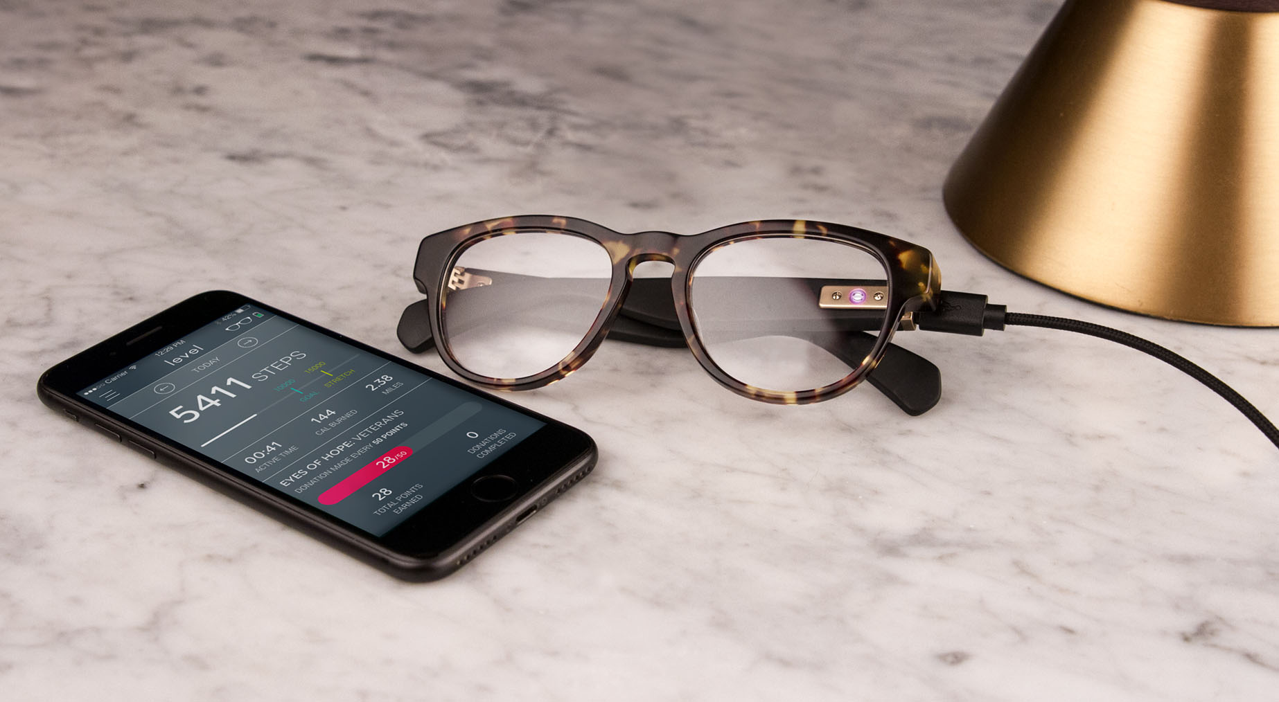 Level+smart+glasses+nightstand+with+app