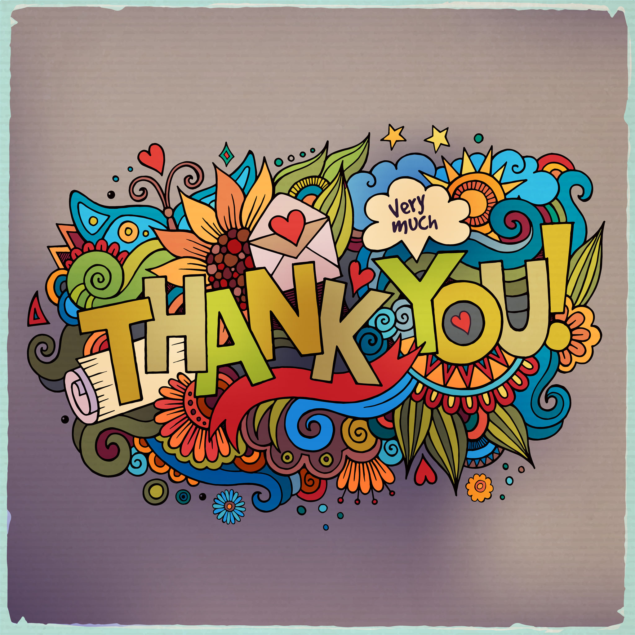 Thank You hand lettering and doodles elements background