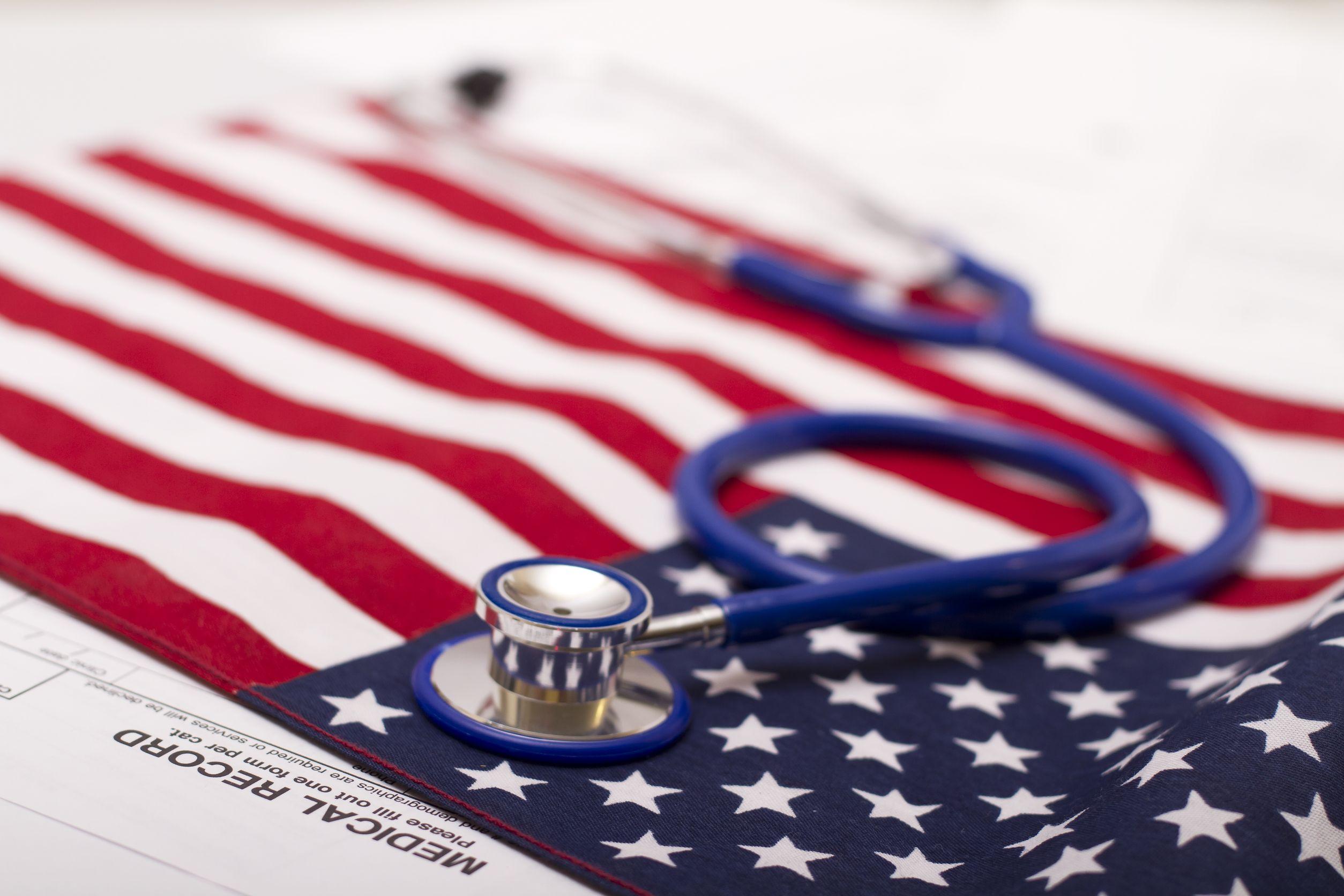 11492200 – stethoscope on a usa flag
