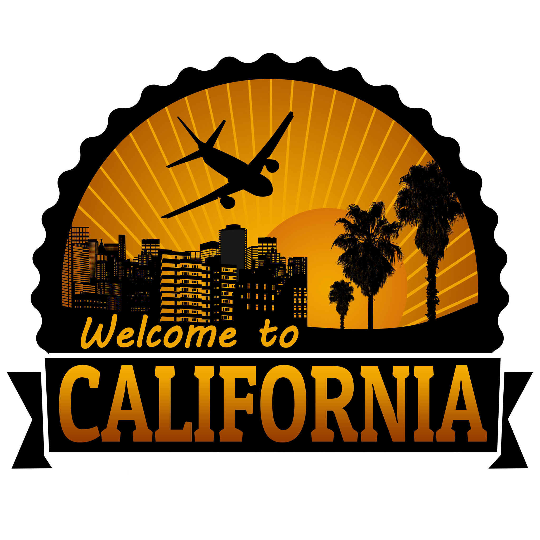 California travel label or stamp