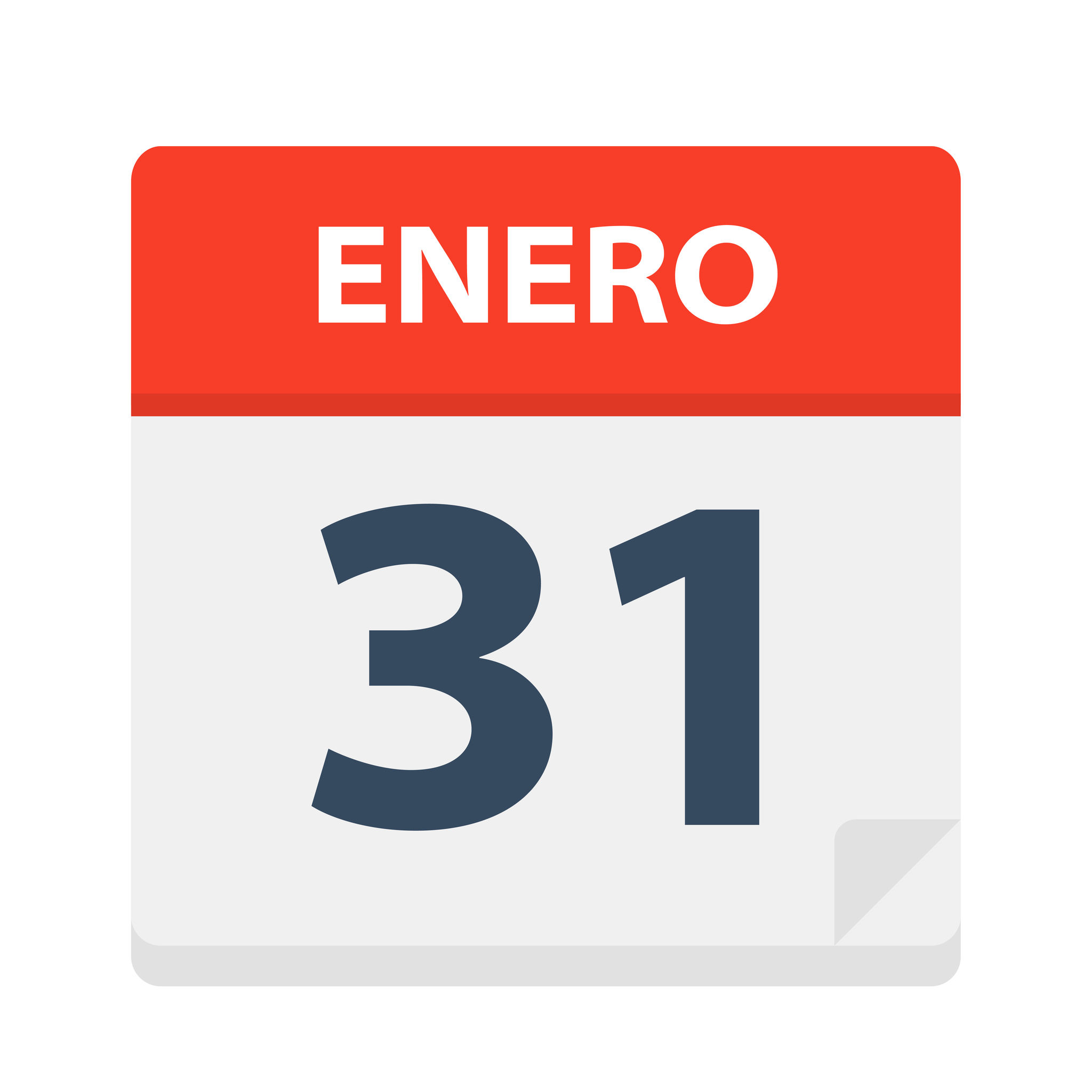 Enero 31 – Calendar Icon – January 31. Vector illustration of Spanish Calendar Leaf