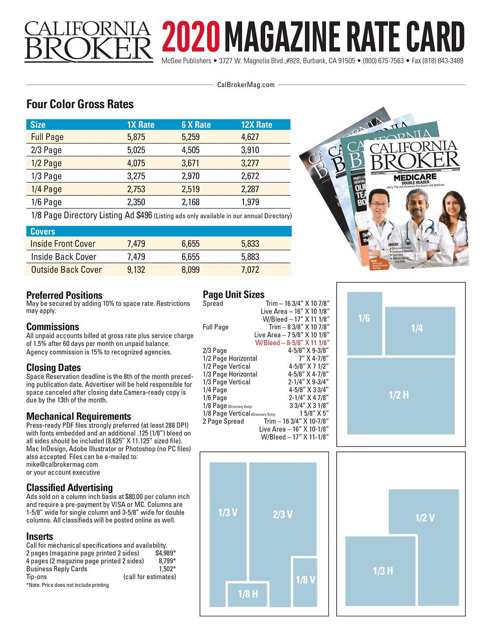 print rate card