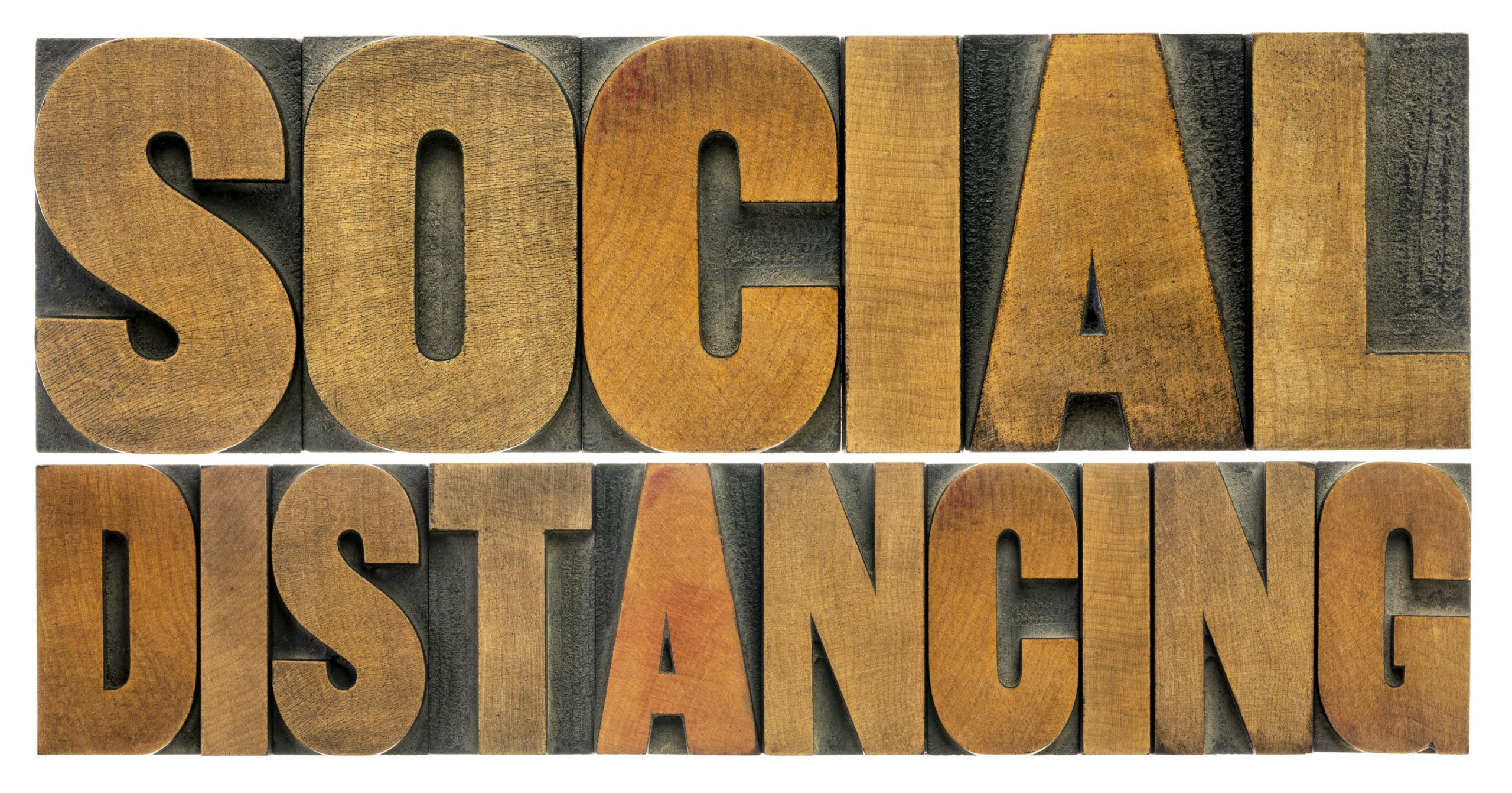 social distancing word abstract in wood type