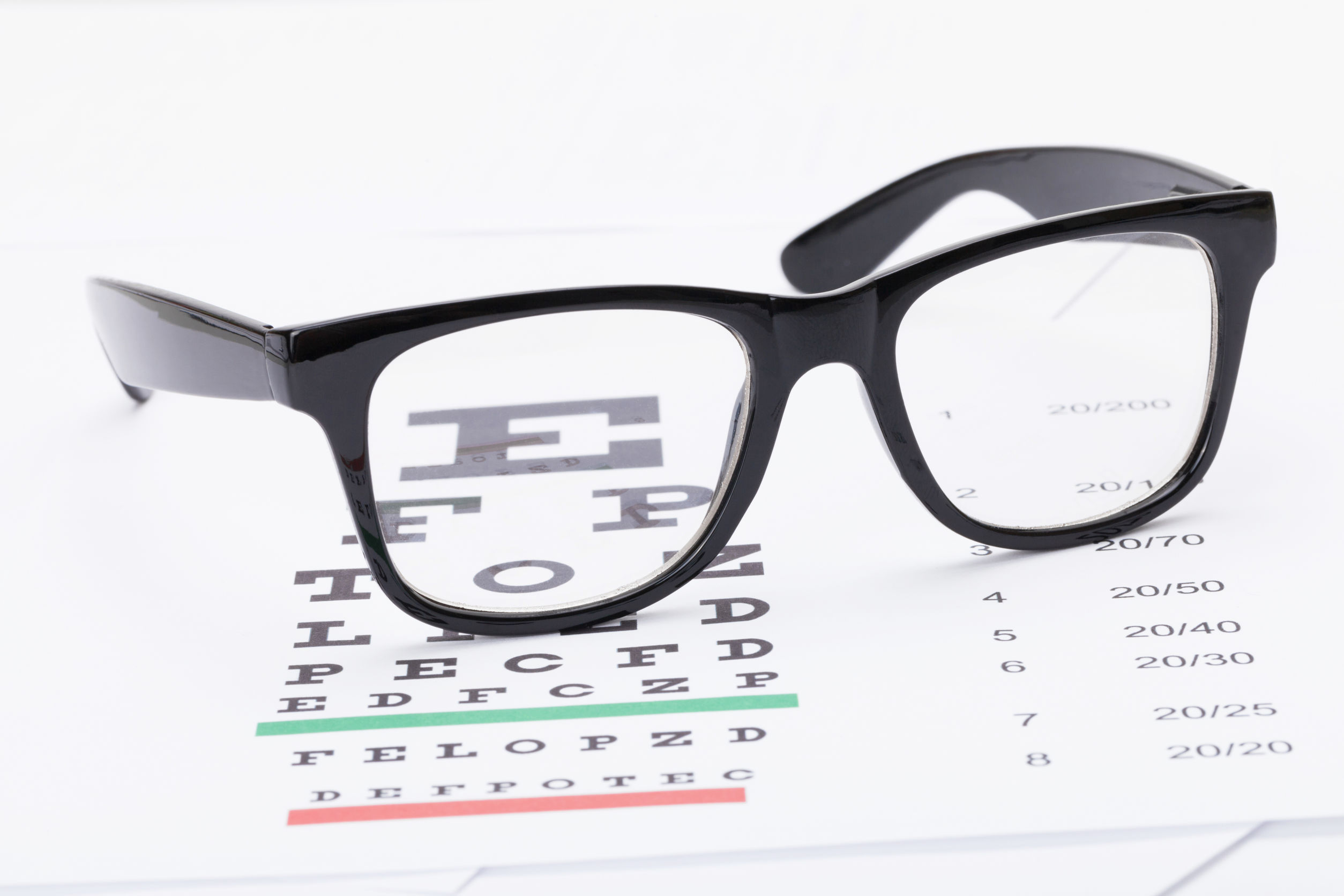 Table for eyesight test and neat glasses over it – close up studio shot