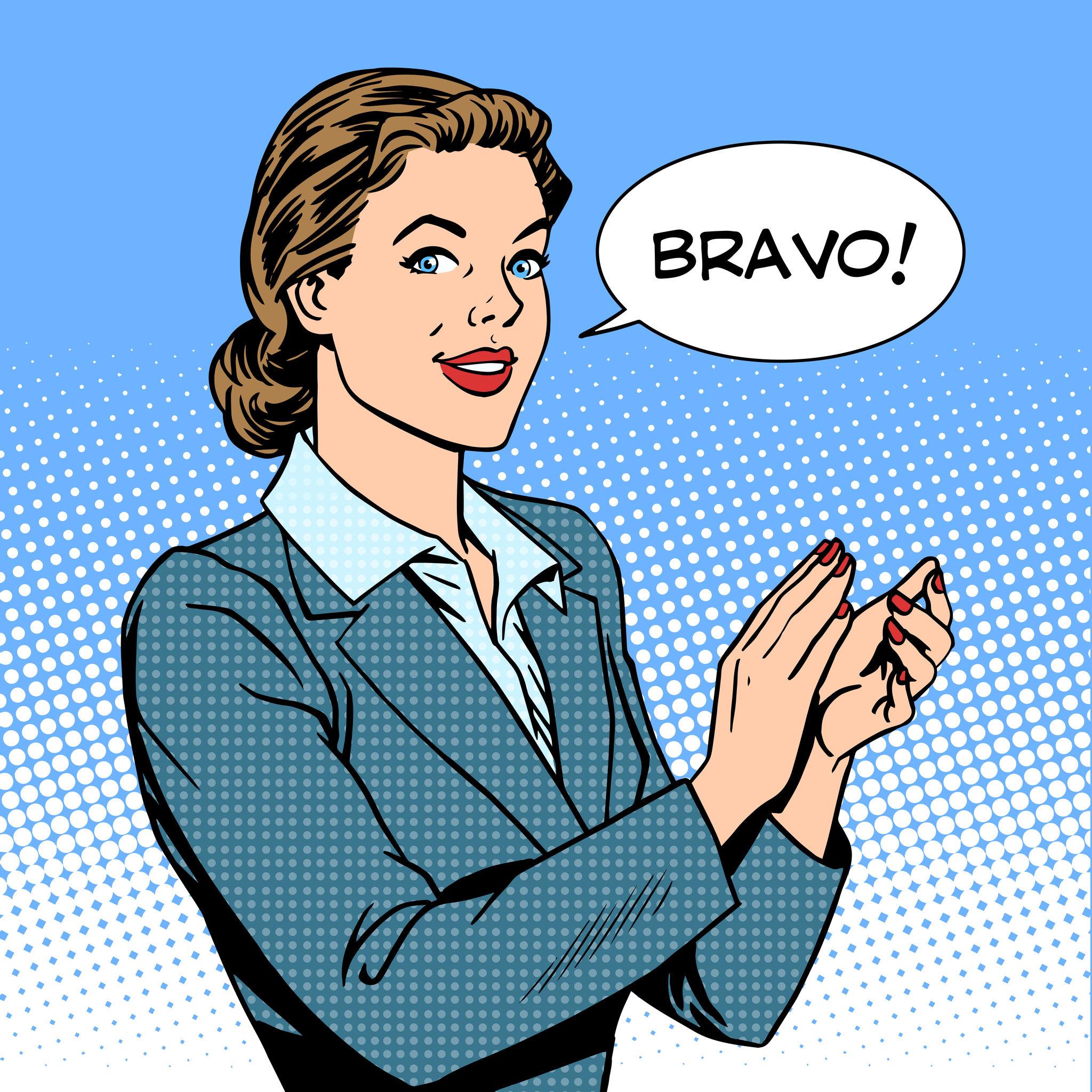 45139362 – woman applause bravo concept of success retro style pop art
