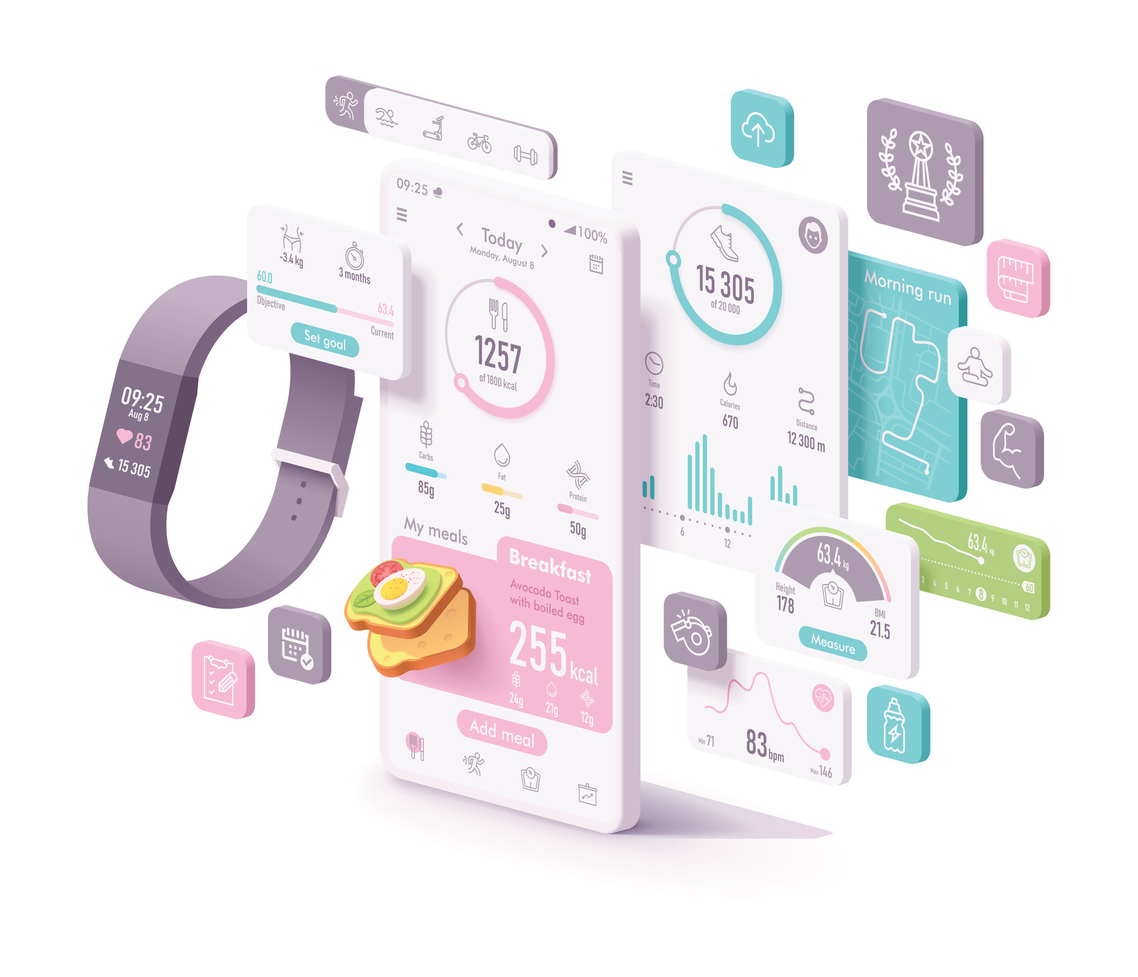 Vector fitness and diet app concept